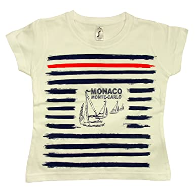 Souvenirs de France - T-Shirt Enfant Monaco  Marin  - Blanc  Amazon.fr   Vêtements et accessoires b851335d68f7