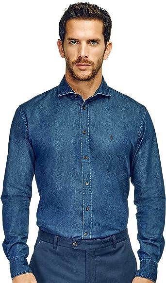 Caramelo, Camisa Regular Cuello Cutaway, Hombre · Azul Tinta ...