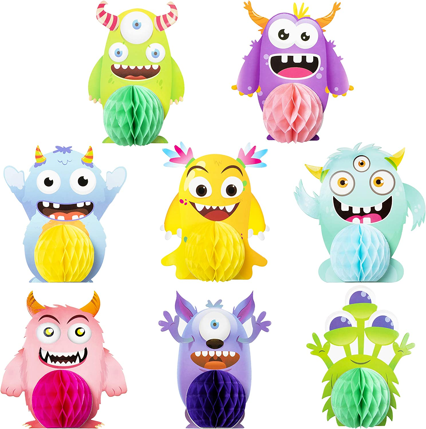 MALLMALL6 12Pcs Monster Honeycomb Centerpieces Party Table Decorations Monsters Themed Birthday Party Supplies Double Sided Table Topper Baby Shower Party Favors Photo Booth Props Room Decor for Kids
