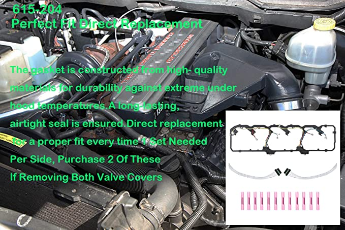 APDTY 726315 Valve Cover Gasket Kit With Fuel Injector Glow Plug Wiring Harness Fits 2006-2014 Dodge Ram 5.9L or 6.7L Cummins Diesel Engine Replaces 5179091AA, 5179091AB, 5179091AC