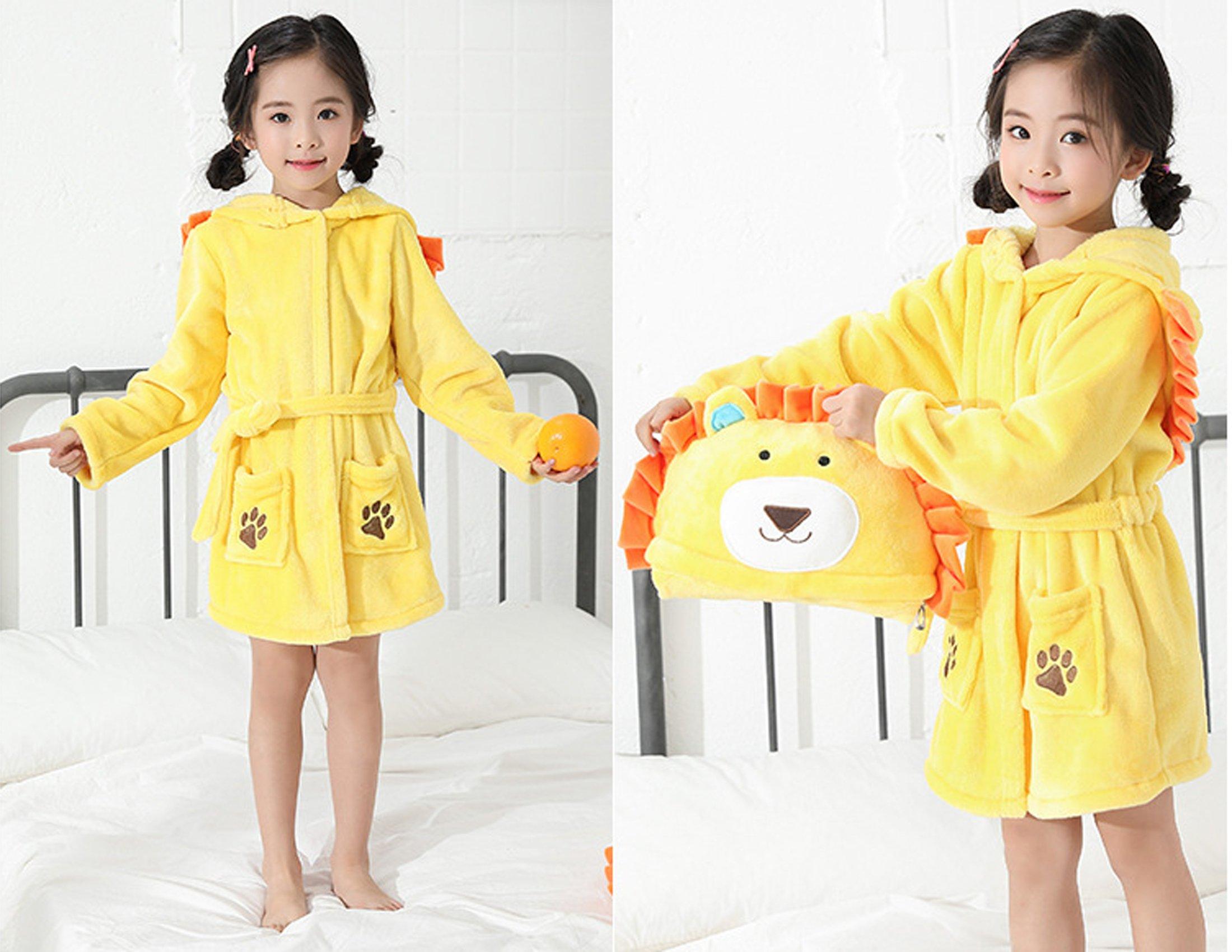 EPLAZA 3-6 Year Girl Boy Flannel Hooded Cute Animal Robe Sleepwear Kid Bathrobe Convertible Pillow (Tag 120, Yellow Lion) by EPLAZA (Image #4)