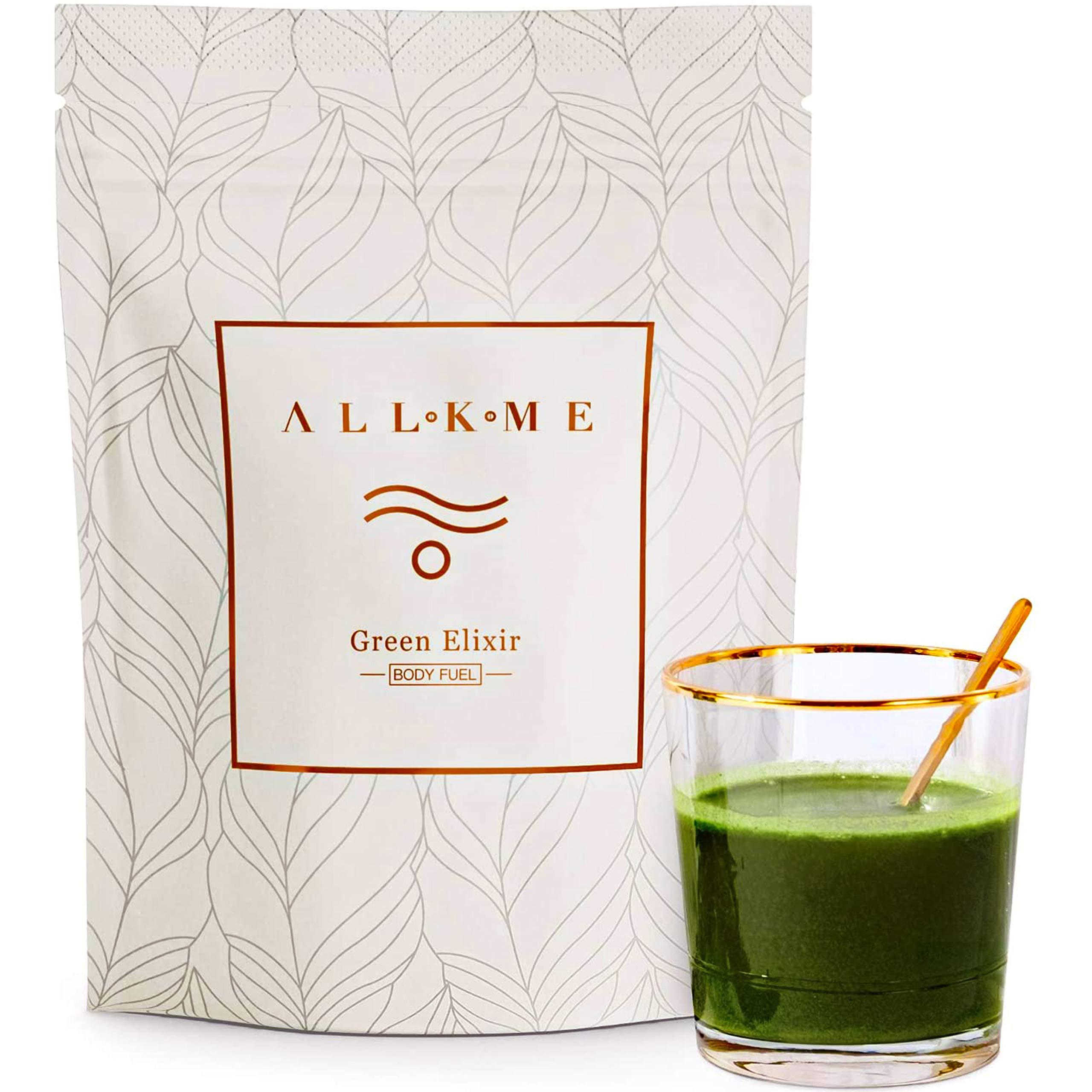 Super greens and Superfood powder - Green Drink: green tea, pea protein, psyllium husk, spirulina chlorella, aloe vera, turmeric, wheatgrass - detox drink with probiotics for adults