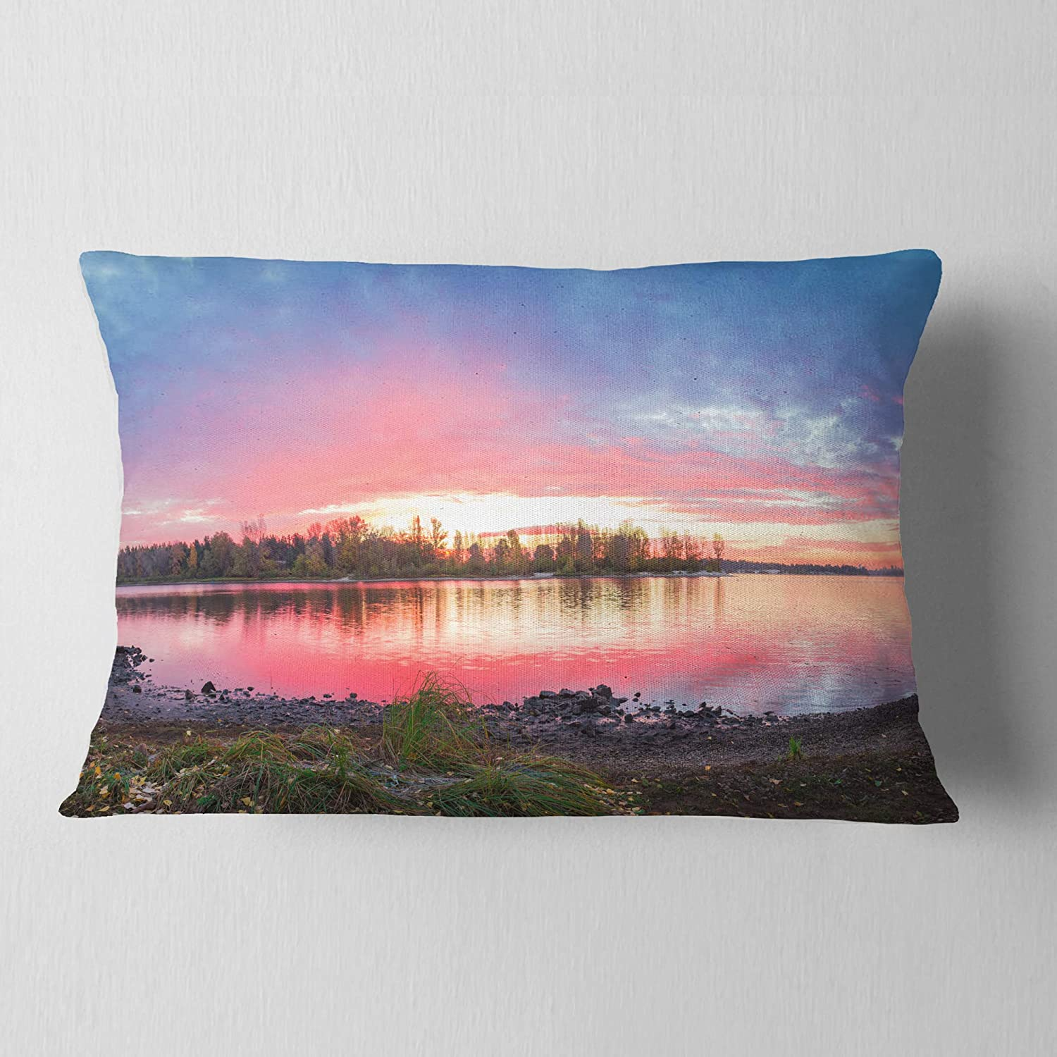 x 20 in in Designart CU10974-12-20 Beautiful Fall Sunrise Over River Landscape Printed Lumbar Cushion Cover for Living Room Insert Side Sofa Throw Pillow 12 in