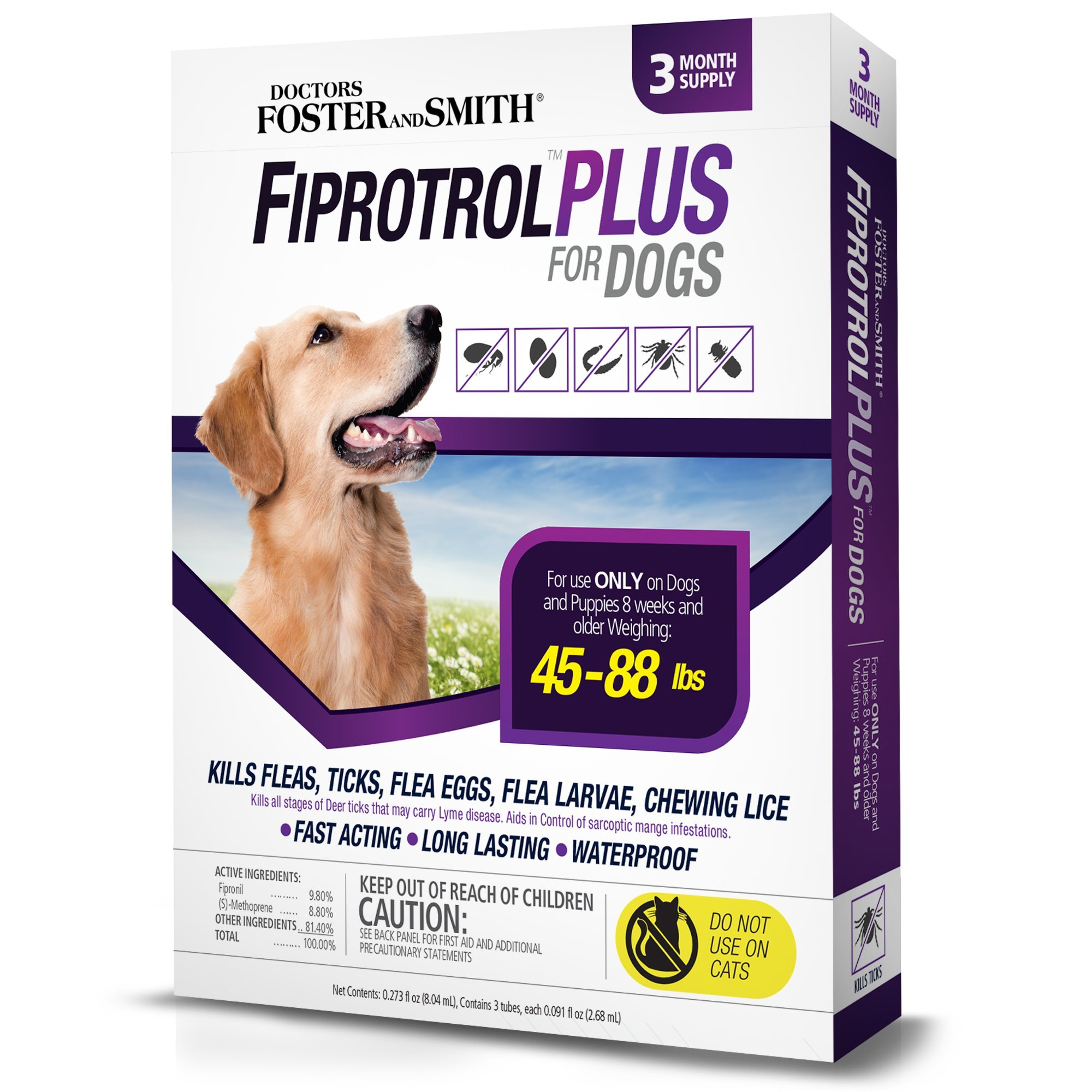 Doctors Foster + Smith Fiprotrol Topical Flea & Tick Control For Dogs 45 to 88 lbs, 3 pack