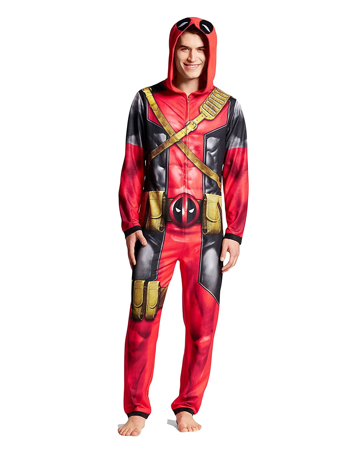 Briefly State Mens Marvel Deadpool Hooded Union Suits//Jumpsuit//Pajama Suit//Sleepwear Red Size M