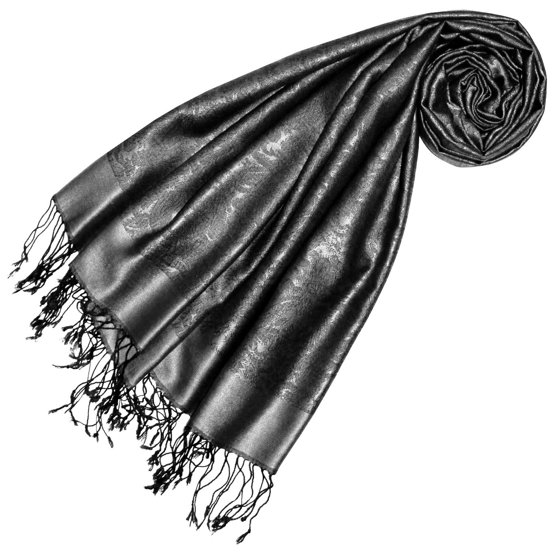 Lorenzo Cana High End Luxus Pashmina 70% Seide 30% Viskose mit Paisley Muster Schaltuch 70 x 190 cm zweifarbig Schal Stola Damenschal Damen
