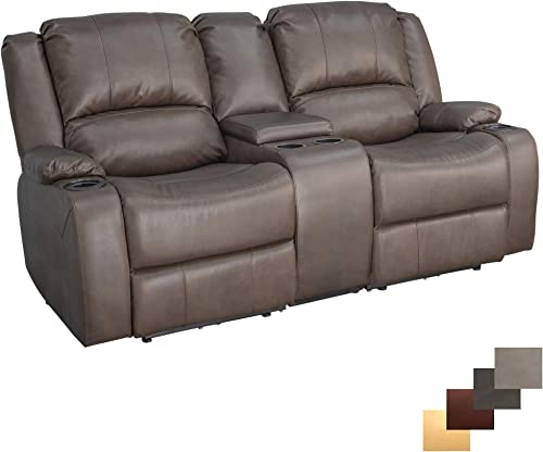 RecPro Charles 70 Powered Double RV Wall Hugger Recliner Sofa Loveseat RV Furniture Chestnut