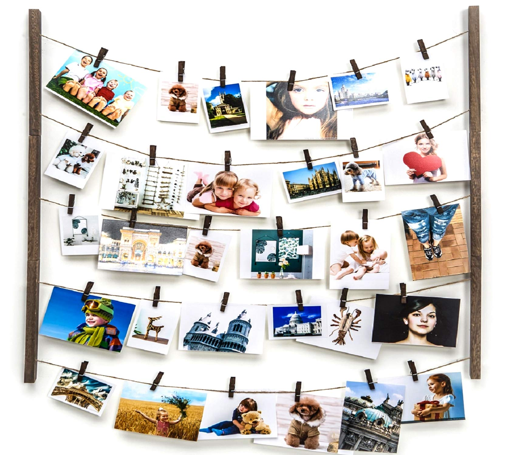 Y&ME Wood Picture Photo Frame for Hanging Wall Decor,Collage Artworks Prints Multi Pictures Organizer with 30 Clips & Adjustable Twines,DIY Wood Hanging Display Frames, Carbonized Black 26 X 29 inch by Y&ME