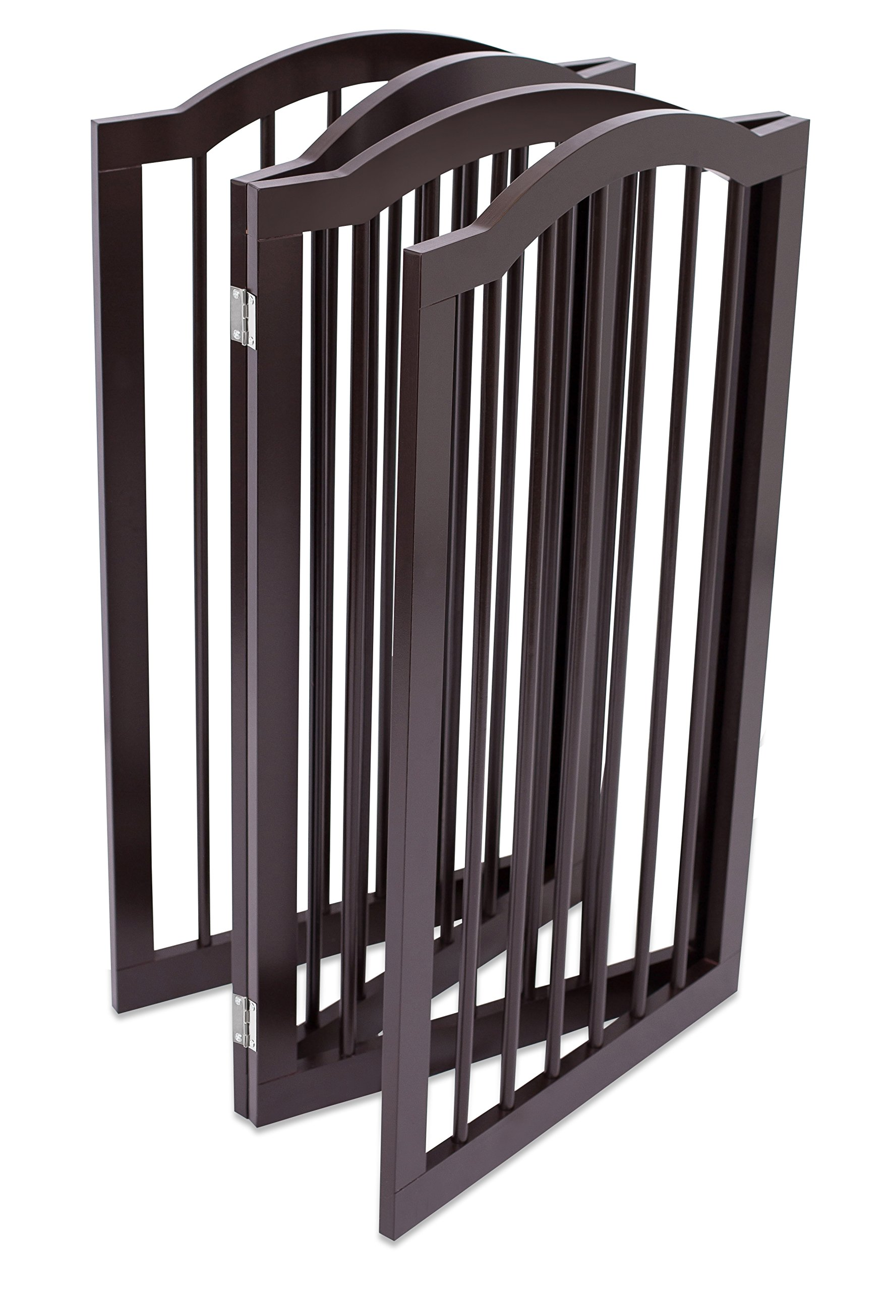 Internet's Best Pet Gate with Arched Top   4 Panel   36 Inch Tall Fence   Free Standing Folding Z Shape Indoor Doorway Hall Stairs Dog Puppy Gate   Fully Assembled   Espresso   Wooden by Internet's Best (Image #3)