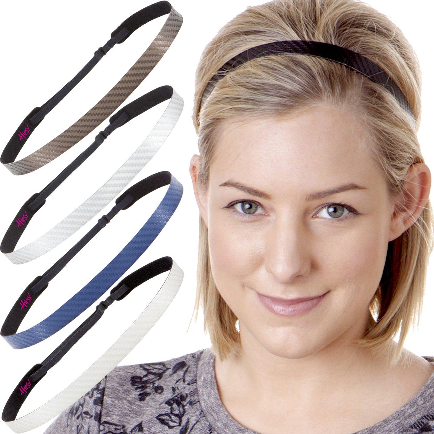 Hipsy Womens Adjustable NO Slip Skinny Tech Sport Headband Multi Packs