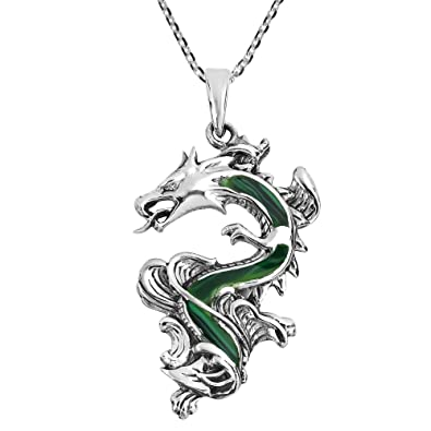 c334f0ee36 Amazon.com: AeraVida Legendary Chinese Dragon Malachite Inlaid .925 Sterling  Silver Pendant Necklace: Jewelry