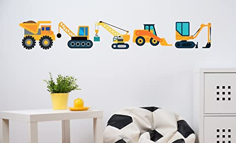 decalmile Construction Vehicles Wall Decals Cars Truck Transportation Wall Stickers Boys Bedroom Kids Room Playroom Wall Decor