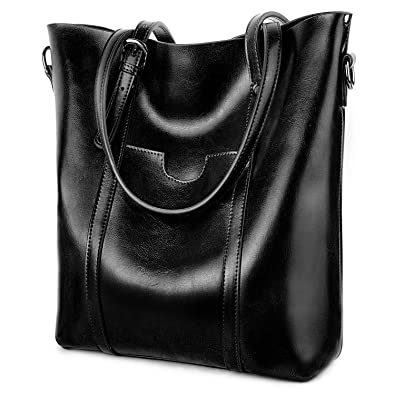 c670cfd881 Amazon.com  YALUXE Women s Vintage Style Soft Leather Work Tote High Style  Shoulder Bag for Women black  Yaluxe Leather