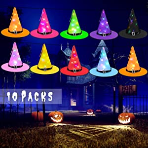 Magicmaster Indoor Outdoor Decorations Witch Hat Lights, 10pcs Hanging Lighted Glowing Witch Hat String Lights - Halloween Decor for Indoor Outdoor Holiday Decorations Tree Porch Yard