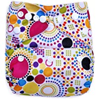 Bumberry Reusable Diaper Cover and 1 Natural Bamboo Cotton Insert (Retro Print) (Multicolor)