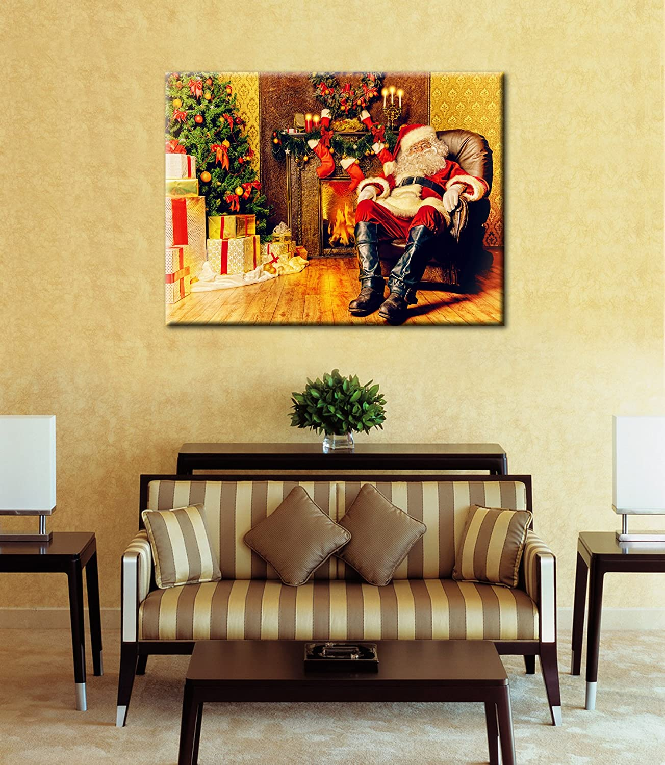 Amazon.com: Christmas Decoration Santa Claus Special Lighted Canvas ...