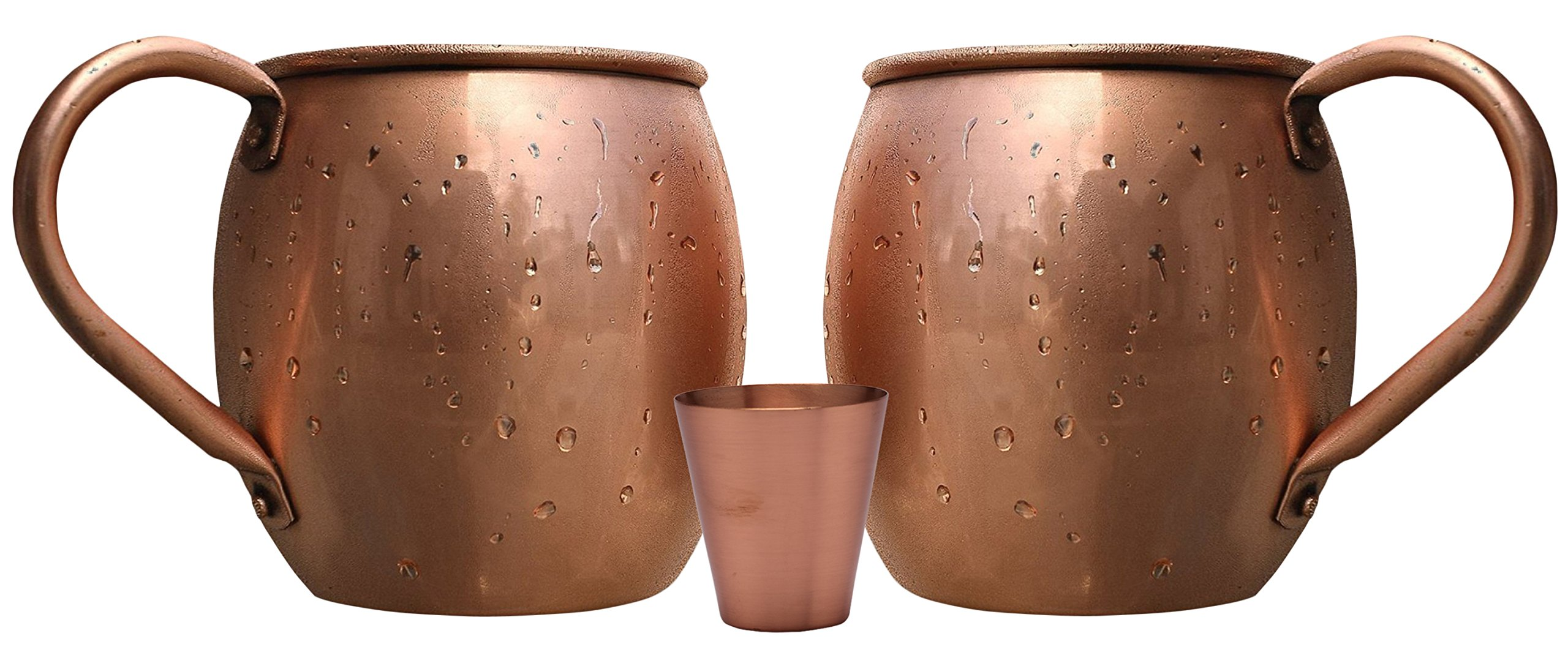 Melange 20 Oz Copper Barrel Mug for Moscow Mules, Set of 16 with Eight Shot Glasses - Heavy Gauge - No lining - includes FREE Recipe card