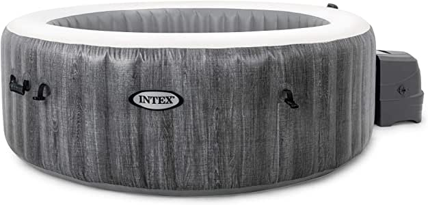 Intex PureSpa Greywood Deluxe 6 Person Portable Inflatable Hot Tub Bubble Jet Spa with Wireless Controls, Hardwater Treatment, Filter and Cover, Gray