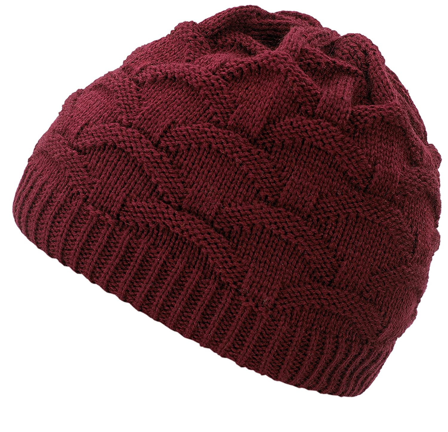 4sold Wave Womens Girls Winter Hat Wool Knitted Beanie Fleece Cap Ski Snowboard Hats Bobble beanie Fala