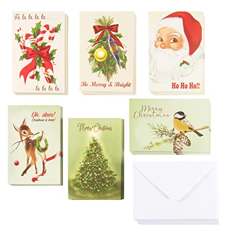 Christmas Designs.48 Pack Vintage Merry Christmas Greeting Cards Box Set Holiday Greeting Cards With 6 Vintage Christmas Designs Envelopes Included 4 X 6 Inches