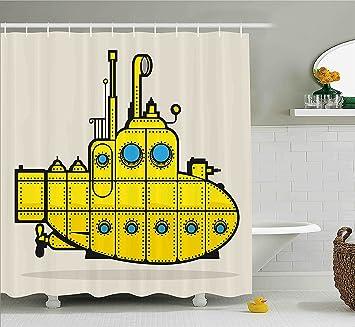 Yellow Submarine Duschvorhang Set Retro Grungeartsy Marine Schiff  Industrie Stil Nautischen Ocean Thema Stoff Badezimmer