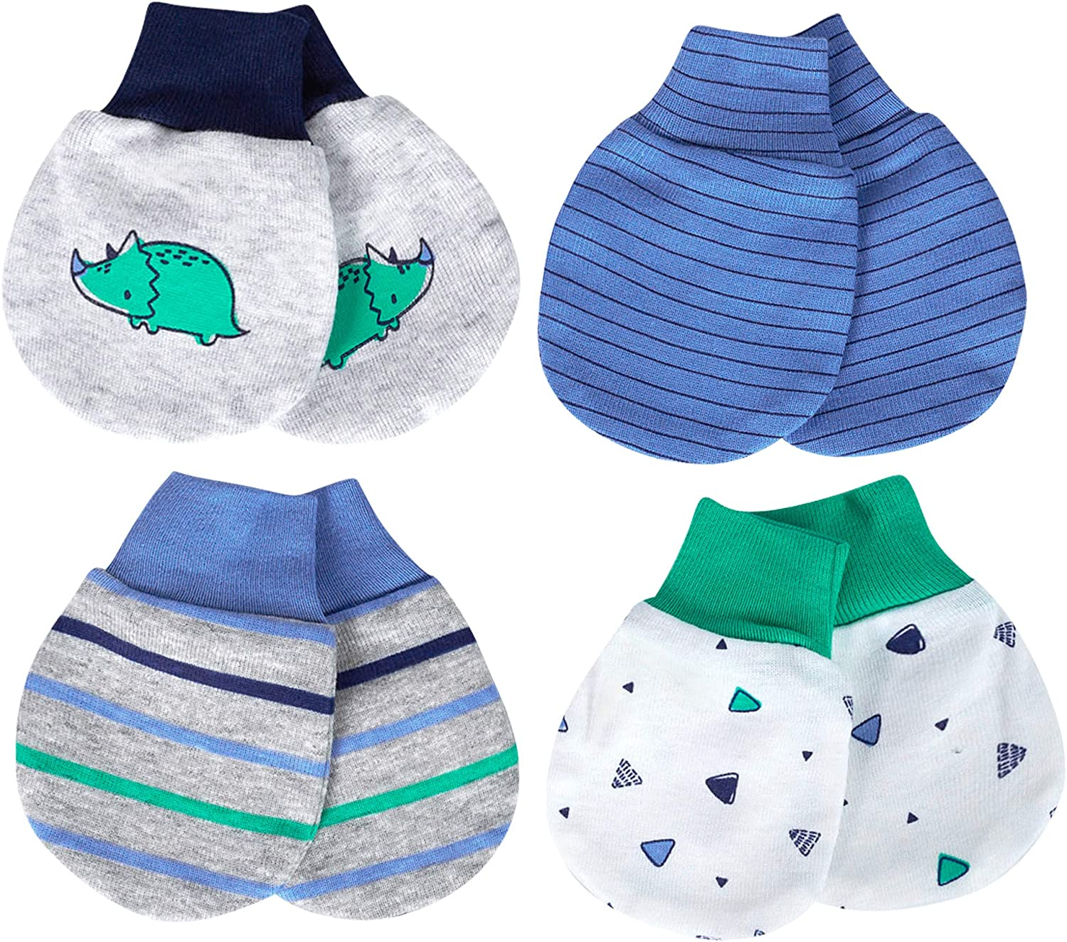 Just Born Baby Boys 4-Pack Organic Lil Dino Mittens 0-3 Month