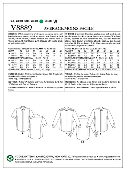 3699dbeed7f Amazon.com  Vogue Patterns V8889 Men s Shirt Sewing Template