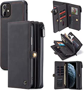 iPhone 11 Pro Max Wallet Case,Leather Detachable Magnetic Cover Zipper Phone Case 15 Credit Card Slots Clutch Purse Case for 6.5 Inch iPhone Case (Black-Grey)