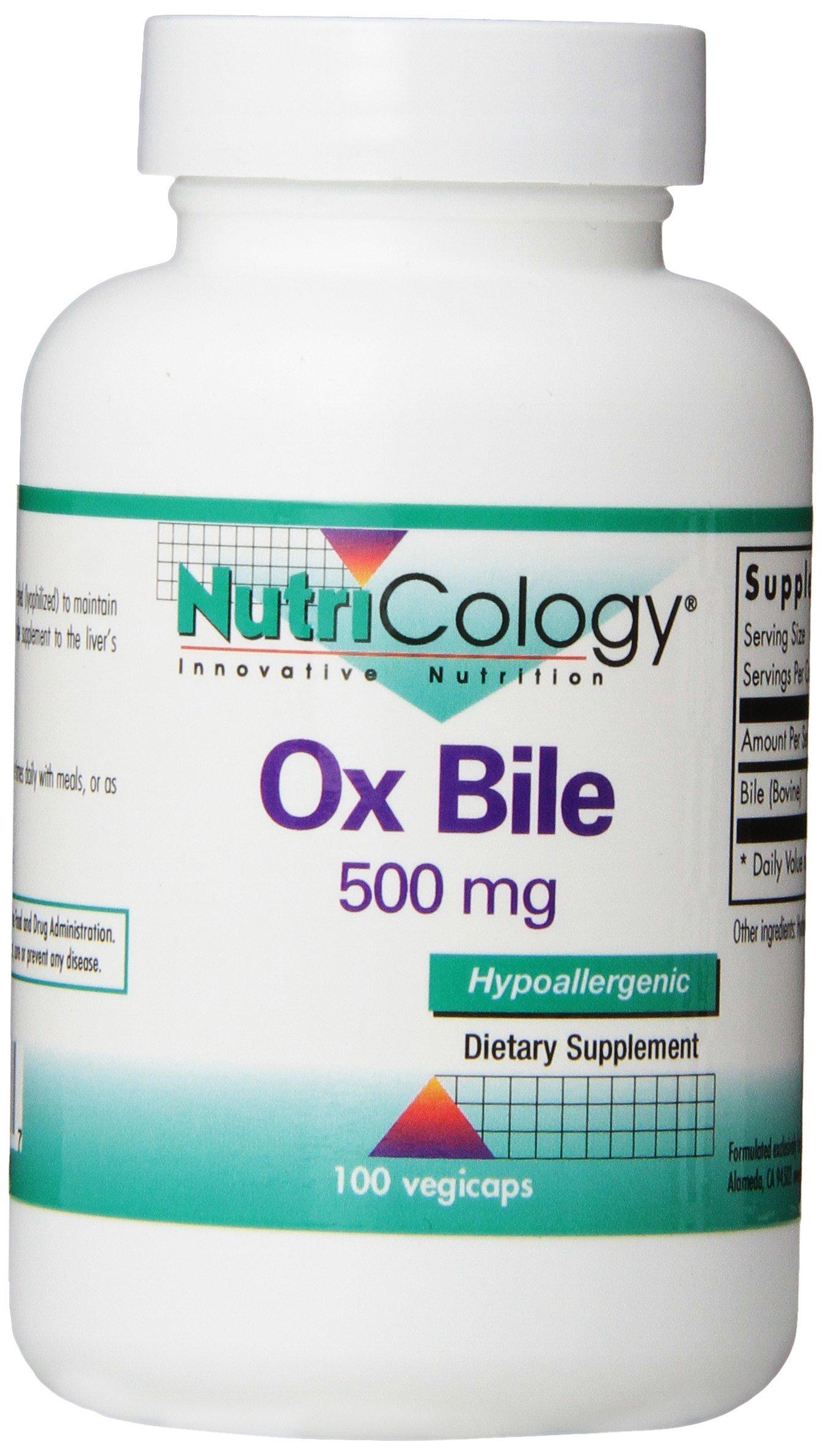 NutriCology Ox Bile 500 mg - Fat Digestion, Liver, Metabolic, GI Support - 100 Vegicaps