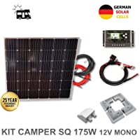 VIASOLAR Kit 175W Camper 12V Panel Solar Cuadrado Placa monocristalina células alemanas