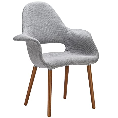 Outstanding Poly And Bark Barclay Upholstered Fabric Modern Dining Arm Chair With Wooden Legs Light Grey Uwap Interior Chair Design Uwaporg