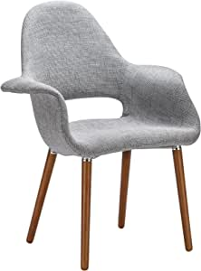 Poly and Bark Barclay Upholstered Fabric Modern Dining Arm Chair with Wooden Legs, Light Grey