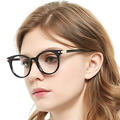 00d59a19013b OCCI CHIARI Optical Eyewear Non Prescription Eyeglasses Frame with Clear  Lenses Glasses Women (Black+