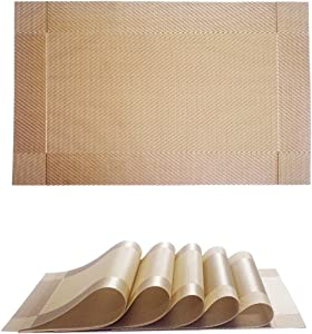 Placemat,Crossweave Woven Vinyl Non-Slip Insulation Placemat Washable Table Mats Set,Heat-Resistant Placemats Stain Resistant Anti-Skid PVC Table Mats for Dining Table (6, Gold)