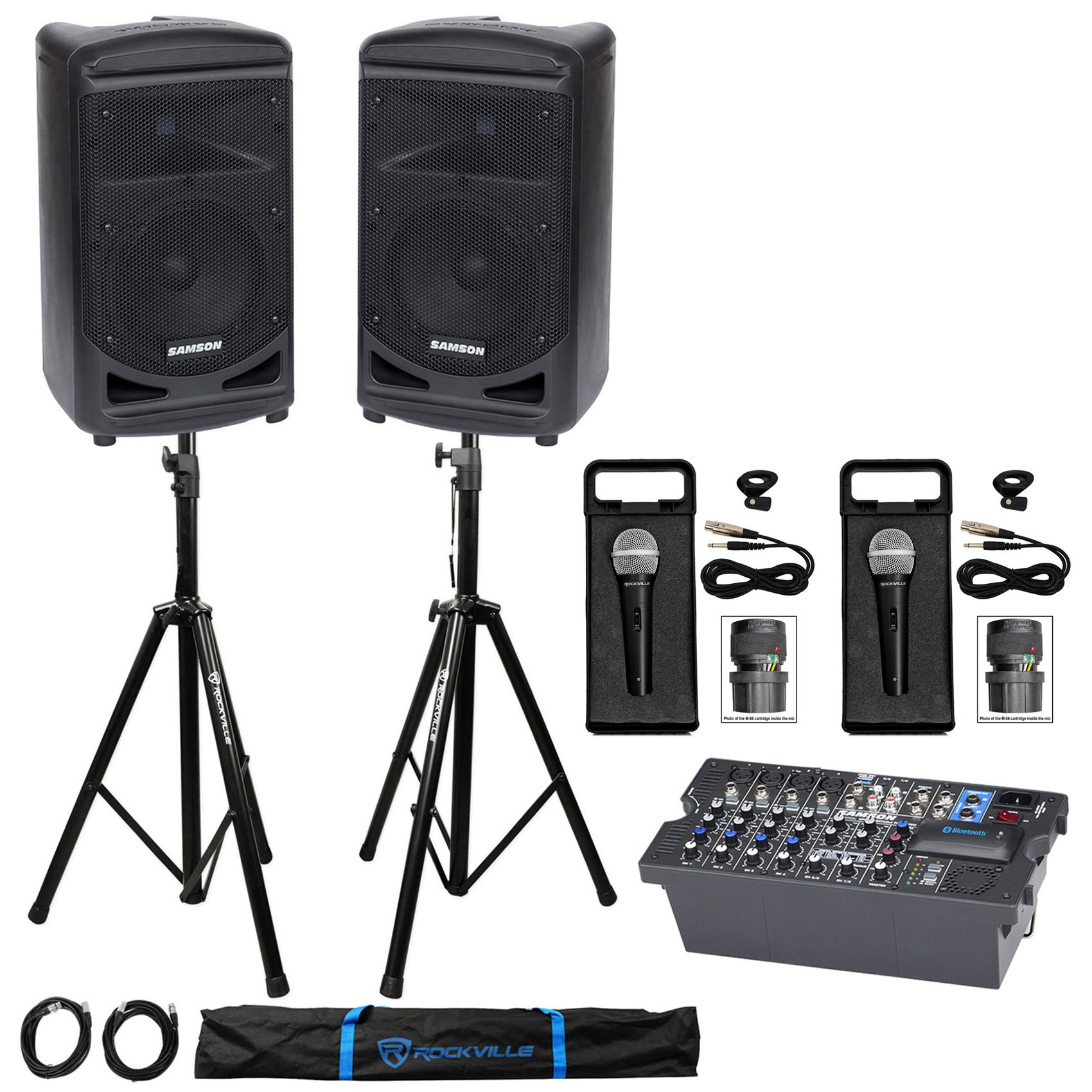 Samson Expedition XP800 800w Portable 8'' PA DJ Speakers+Mixer+Stands+Cables+Mics