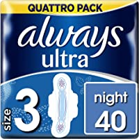 Always Ultra Night Sanitary Towels with Wings 40 Pads Super Absorbent, Neutralises Odours and Ultra Thin, Size 3