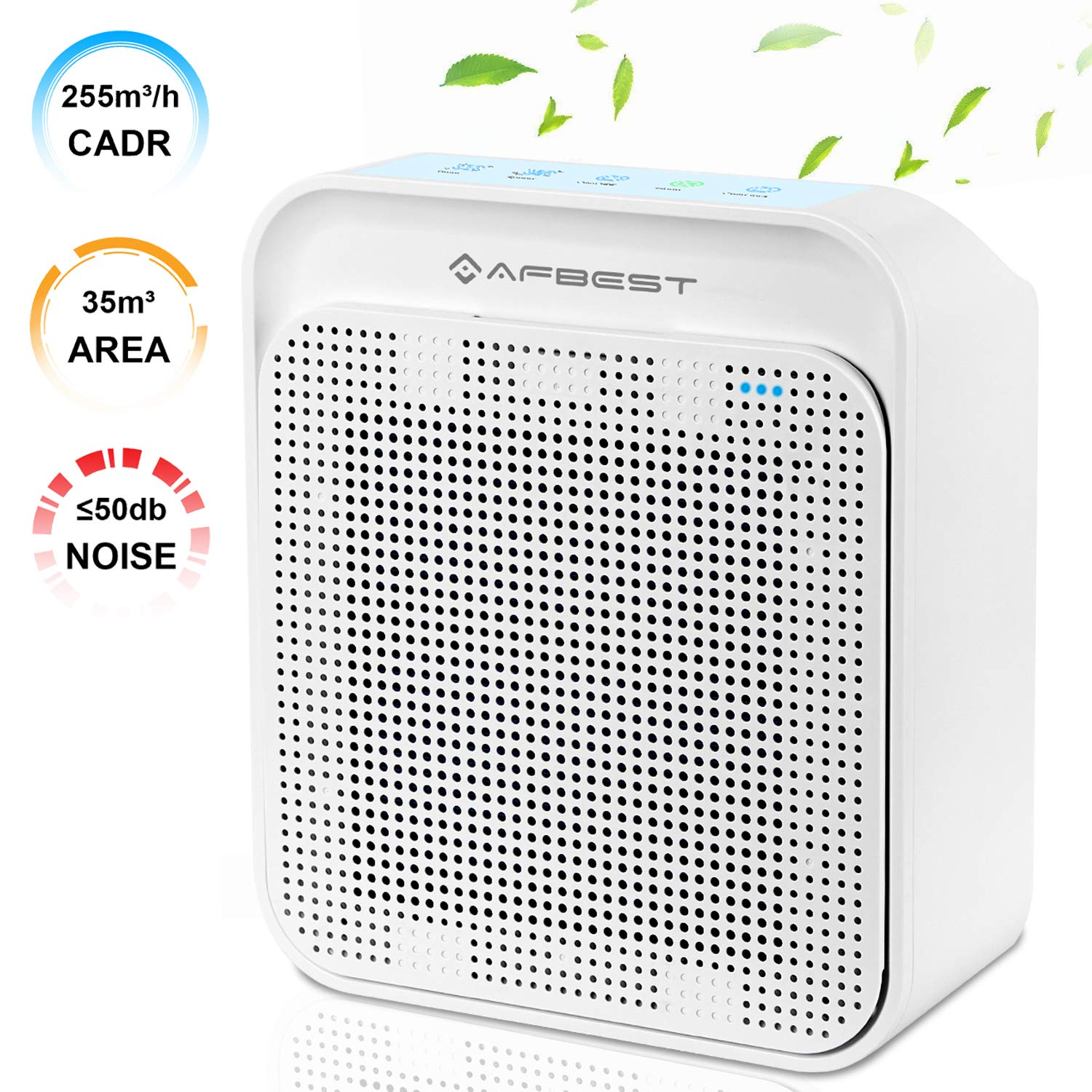 AFBEST Air Purifier with True HEPA & Active Carbon Filters, Odor Allergies Eliminator, PM2.5 Eliminator Cleaner for Allergies, Dust, Mold, Pets Dander, Smokers, Cooking, Powerful for Large Room (CADR 255), 35m²