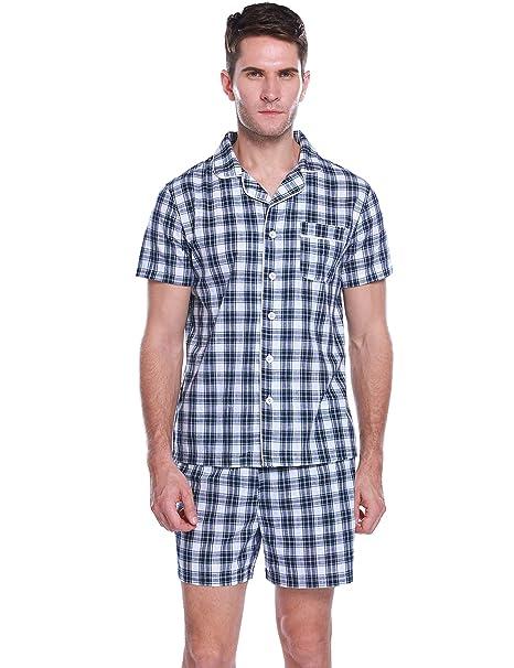 e5d8ded12aa2 Hawiton Pijama Hombre Verano Corto Manga Corta Conjunto de Pijamas Algodón  Camiseta y Pantalones Corto de a Cuadros