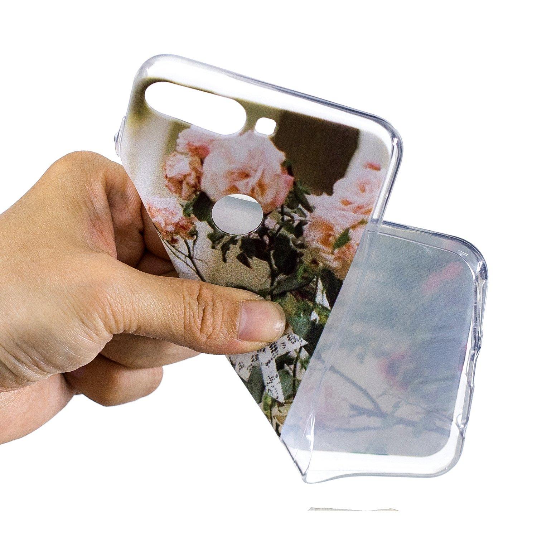 IJIA Case Funda para Huawei Y7 Prime 2018 5.99 Transparente Flores Rosas TPU Silicona Suave Cover Tapa Caso Parachoques Carcasa Cubierta para Huawei Y7 Prime 2018