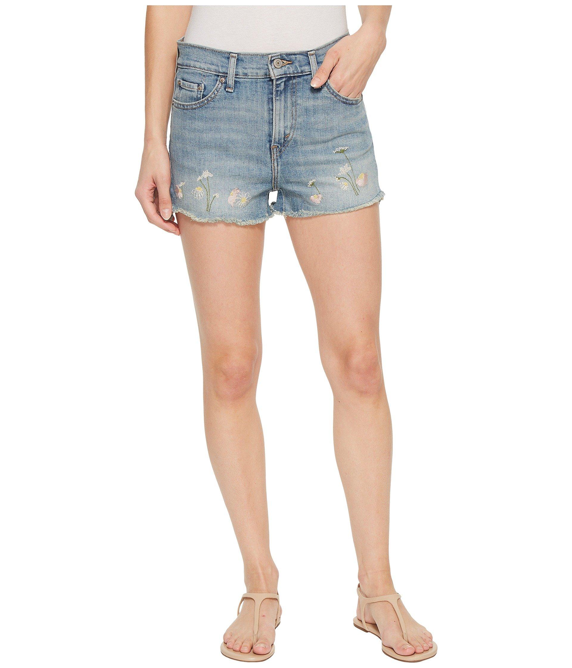 Levi's Women's High Rise Shorts, Blue Wildflower, 25 (US 0)