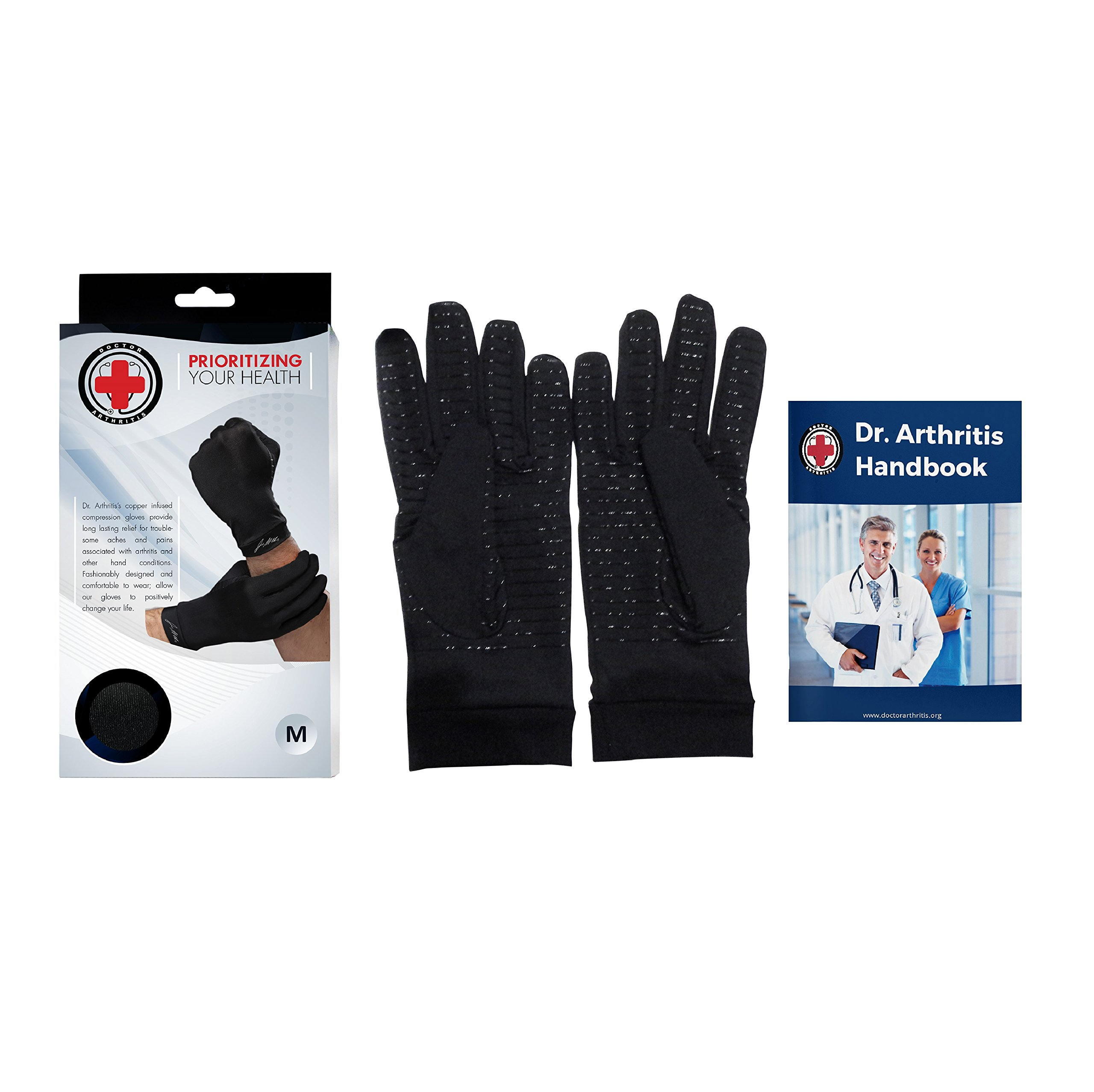 Doctor Developed Copper Gloves/Compression Gloves For Arthritis (full-length) AND DOCTOR WRITTEN HANDBOOK— Relieve Arthritis Symptoms, Raynauds Disease & Carpal Tunnel (L) by Dr. Arthritis (Image #3)