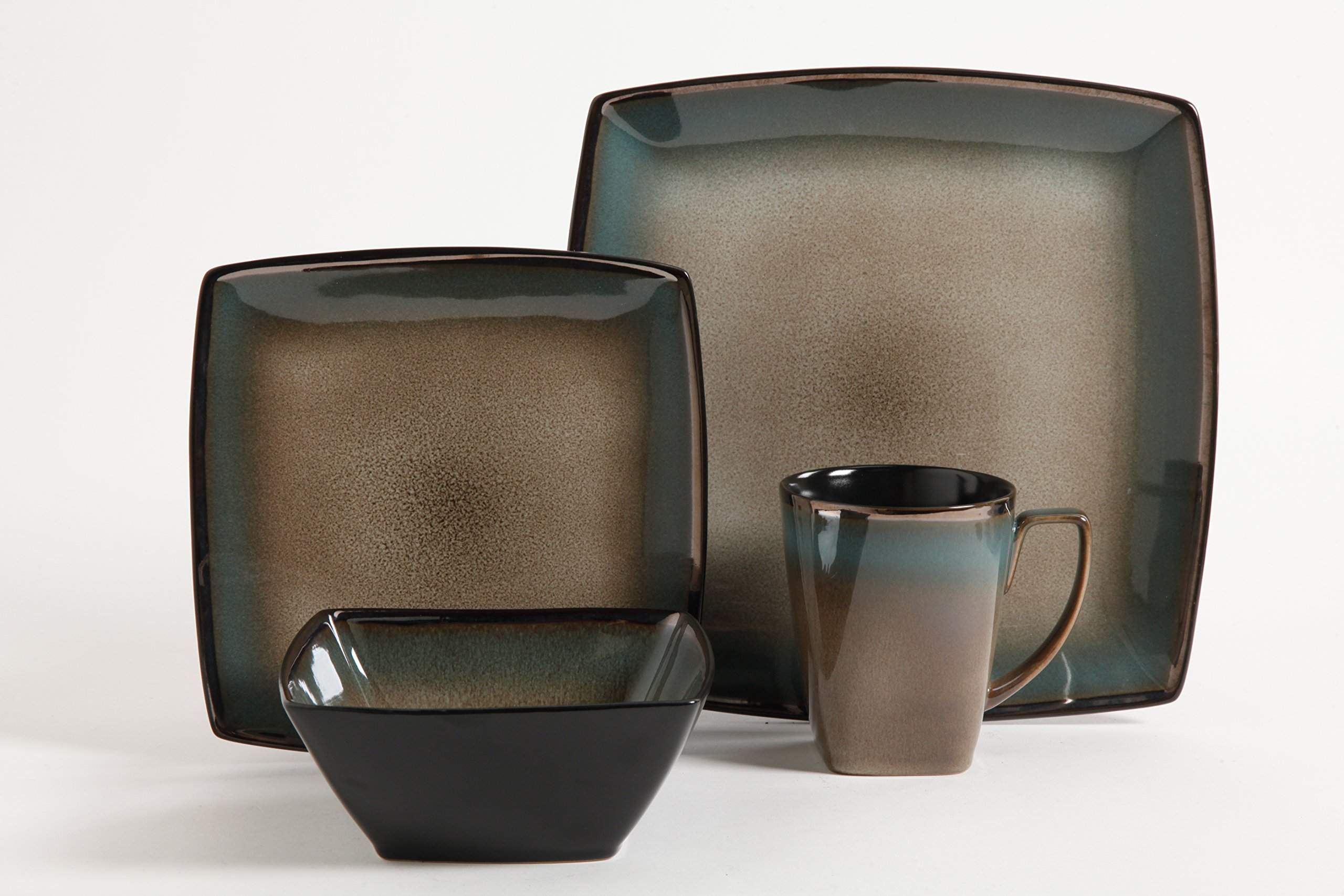 Gibson Elite 101859.16RM Tequesta 16-Piece Square Dinnerware Set, Taupe by Gibson Elite (Image #2)