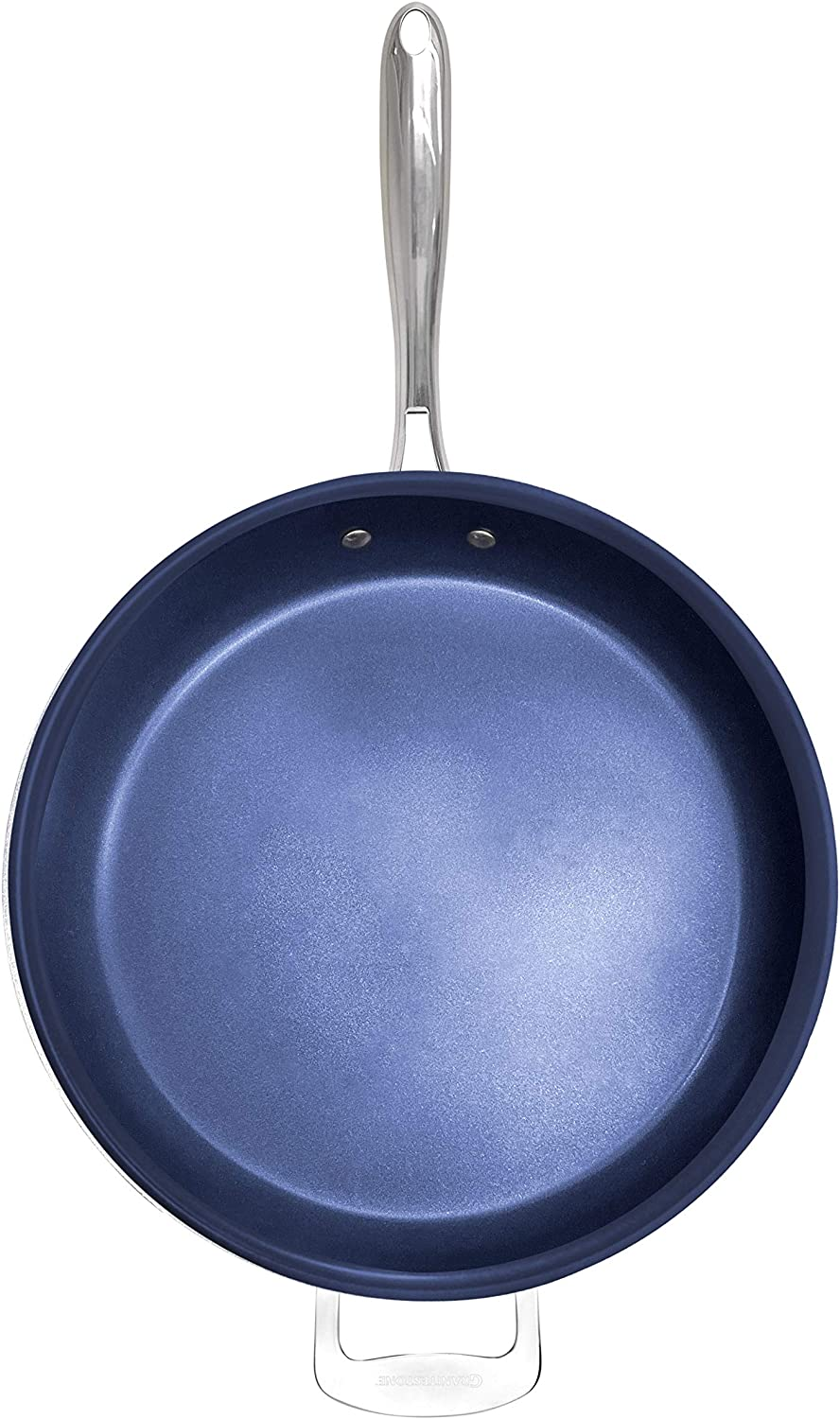 Granite Stone Diamond Granite Stone Classic Blue Nonstick Frying Pan with Ultra Durable Mineral and Diamond Triple Coated Surface Oven and Dishwasher Safe 14 Family Sized Open Skillet