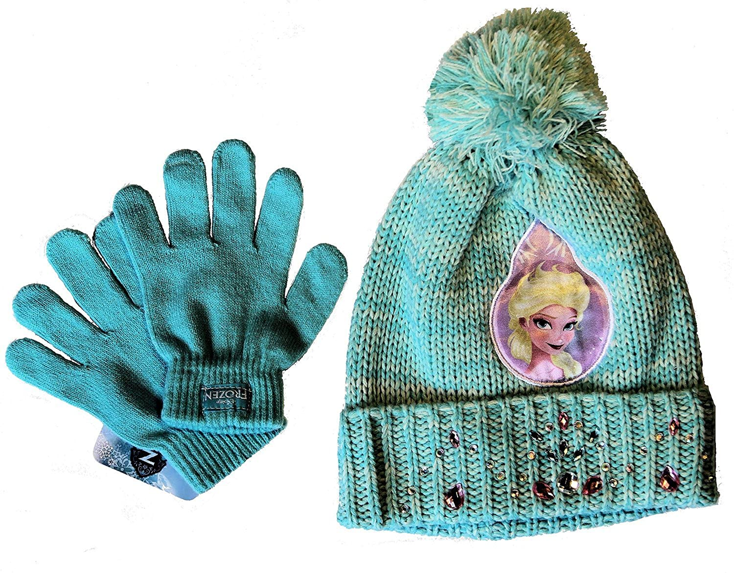 Disney Frozen ~ PREMIUM SHINING RHINESTONES Hat & Gloves Set, in Pink OR Blue Light Blue