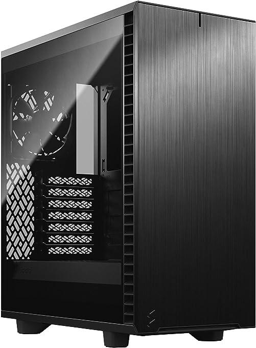 Fractal Design Define 7 Compact Negro - Aluminio Cepillado / Acero - Panel Lateral de Vidrio Templado y Tintado Oscuro - Interior Modular ATX - Caja de computadora Mid Tower: Amazon.es: Informática