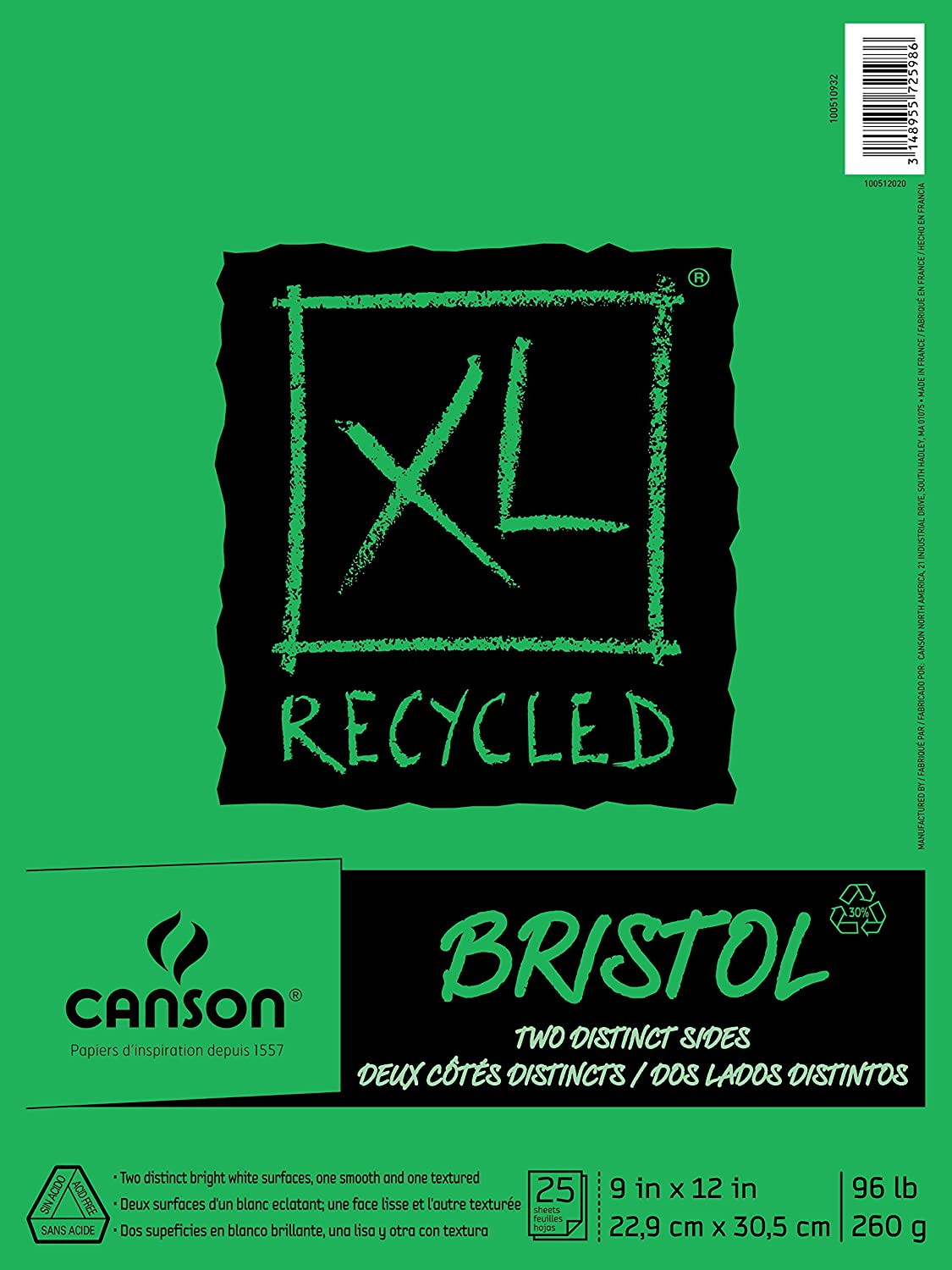 Canson XL Series Recycled Bristol Paper Pad, Dual Sided Smooth and Vellum for Pencil, Marker or Ink, Fold Over, 96 Pound, 14 x 17 In, White, 25 Sheets CANSON Inc 100510934