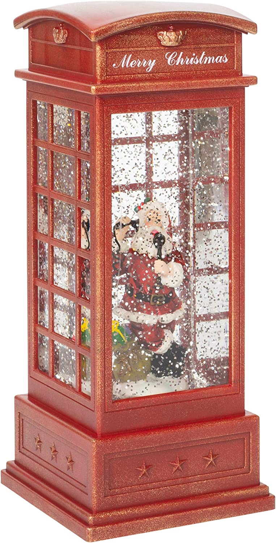 Santa Inside English Style Phone Booth LED 9.75 Inch Acrylic Holiday Glitter Globe