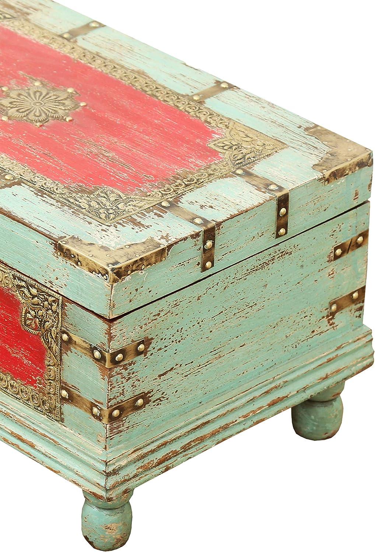 47cm gro/ß Orientalische Truhe Kiste aus Holz Arjuna Rot Vintage Sitzbank mit Aufbewahrung f/ür den Flur Betttruhe als Kissenbox oder Deko im Schlafzimmer Aufbewahrungsbox mit Deckel im Bad
