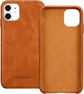JISONCASE iPhone 11 case, iPhone 11 Genuine Leather Case Slim Back Cover Protective Cases for iPhone 11 6.1 inch (Brown)
