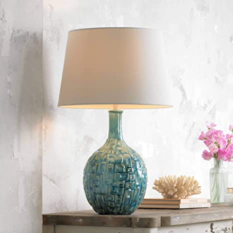 Mid Century Modern Table Lamp Teal Ceramic Gourd White Fabric Empire